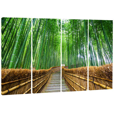 Designart Path To Bamboo Forest Landscape Photography Canvas Print - 4 Panels