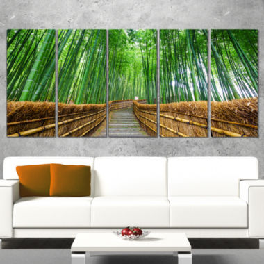 Designart Path To Bamboo Forest Landscape Photography Canvas Print - 5 Panels