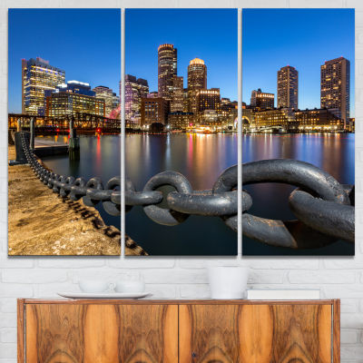 Designart Boston Skyline At Dusk Cityscape PhotoCanvas Print - 3 Panels