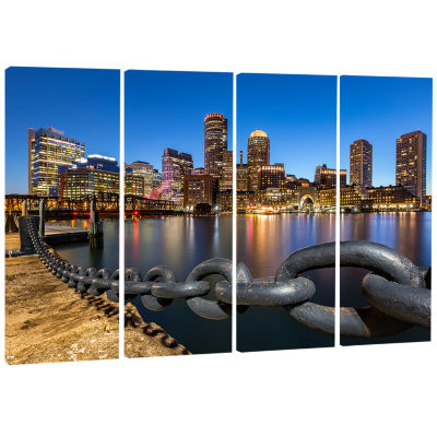 Designart Boston Skyline At Dusk Cityscape Photo Canvas Print - 4 Panels