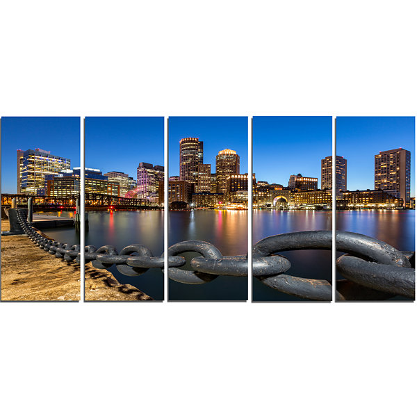 Designart Boston Skyline At Dusk Cityscape PhotoCanvas Print - 5 Panels