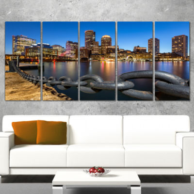 Design Art Boston Skyline At Dusk Cityscape PhotoCanvas Print - 5 Panels