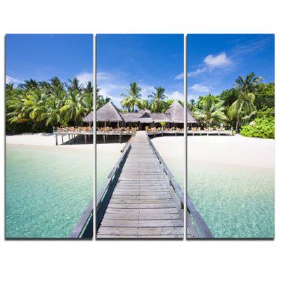 Designart Beach With Coconut Palm Trees LandscapePhoto Canvas Art - 3 Panels