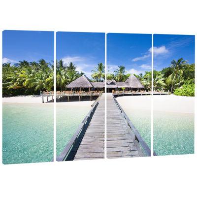 Design Art Beach With Coconut Palm Trees Landscape Photo Canvas Art - 4 Panels