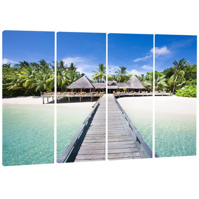 Designart Beach With Coconut Palm Trees LandscapePhoto Canvas Art - 4 Panels