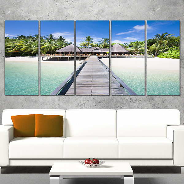 Designart Beach With Coconut Palm Trees LandscapePhoto Canvas Art - 5 Panels