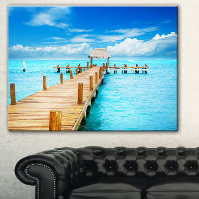 Design Art Tropic Paradise Jetty In Mexico Seascape Canvas Art Print
