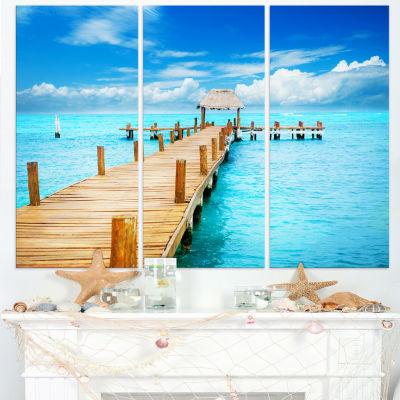 Designart Tropic Paradise Jetty In Mexico SeascapeCanvas Art Print - 3 Panels