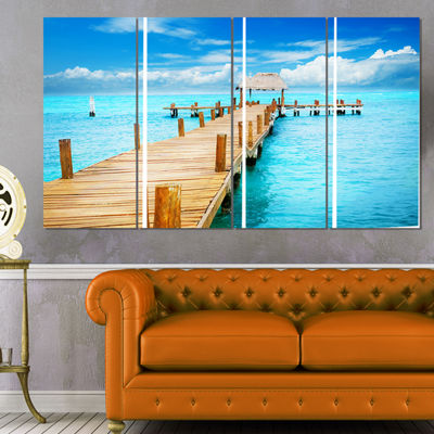 Designart Tropic Paradise Jetty In Mexico SeascapeCanvas Art Print - 4 Panels