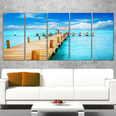 Designart Tropic Paradise Jetty In Mexico SeascapeCanvas Art Print - 5 Panels