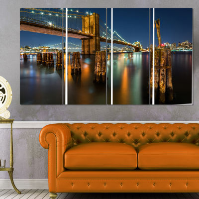 Designart Lit Up Brooklyn Bridge By Night Cityscape Photo Canvas Print - 4 Panels
