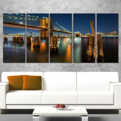 Designart Lit Up Brooklyn Bridge By Night Cityscape Photo Canvas Print - 5 Panels