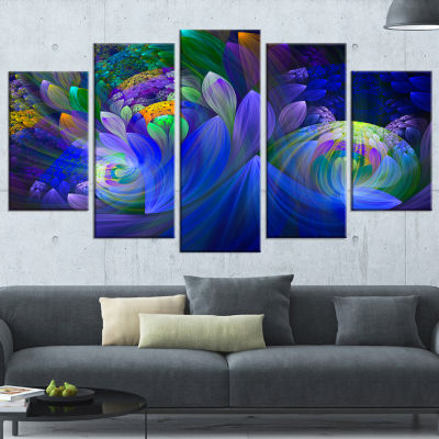 Designart Blue Fractal Flower Bouquet (373) CanvasArt Print - 5 Panels