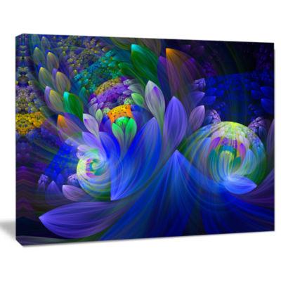 Design Art Blue Fractal Flower Bouquet Canvas Art Print