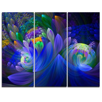Design Art Blue Fractal Flower Bouquet Canvas Art Print - 3 Panels