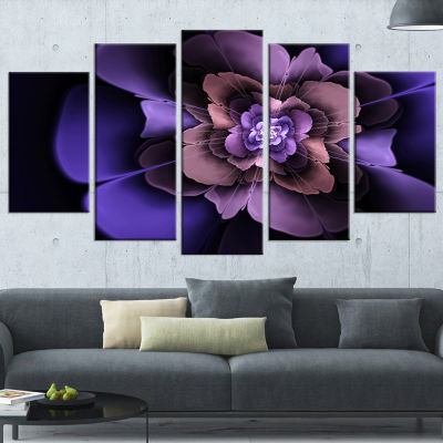 Design Art Blue Fractal Flower In Dark Art CanvasPrint - 5 Panels