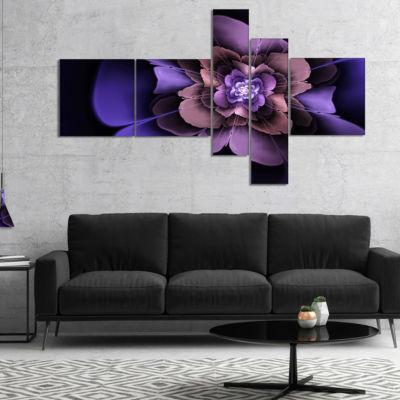 Designart Blue Fractal Flower In Dark Blue Art Canvas Print - 5 Panels