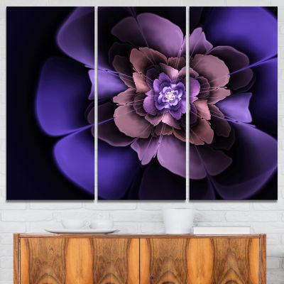 Designart Blue Fractal Flower In Dark Canvas Art Print - 3 Panels