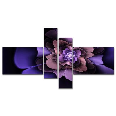 Design Art Blue Fractal Flower In Dark Canvas Art Print - 4 Panels