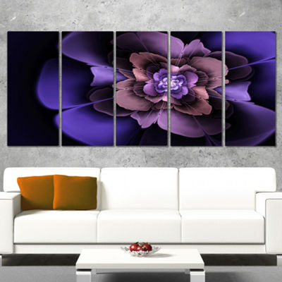 Designart Blue Fractal Flower In Dark Canvas ArtPrint - 5 Panels