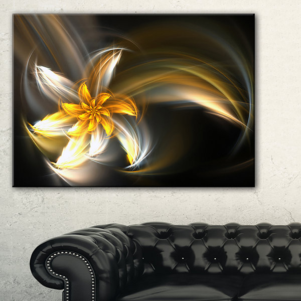 Designart Green Fractal Flower In Dark Art CanvasPrint