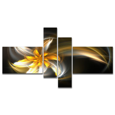 Design Art Green Fractal Flower In Dark Art Canvas Print - 4 Panels