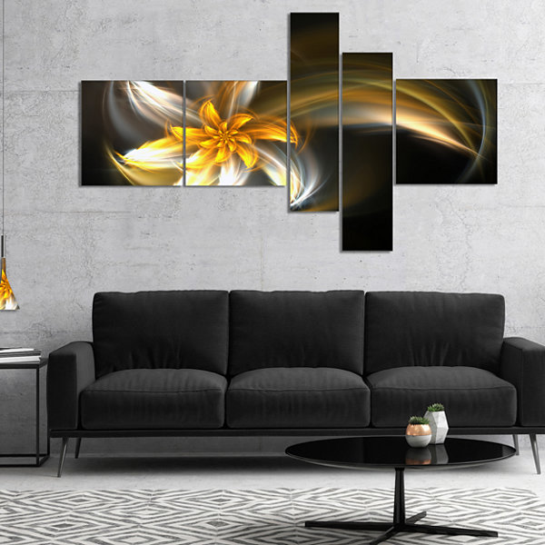 Design Art Green Fractal Flower In Dark Art Canvas Print - 5 Panels