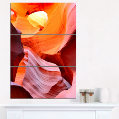 Designart Inside Upper Antelope Canyon LandscapePhotography Canvas Print - 3 Panels