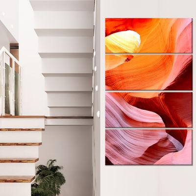 Designart Inside Upper Antelope Canyon LandscapePhotography Canvas Print - 4 Panels
