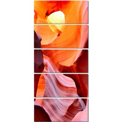 Design Art Inside Upper Antelope Canyon Landscape Photography Canvas Print - 5 Panels