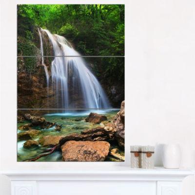Designart Djur Djur Waterfall Landscape Photography Canvas Art Print - 3 Panels
