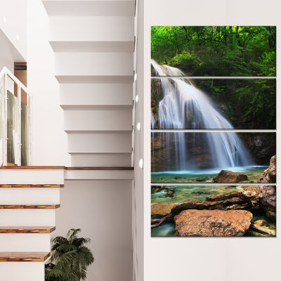 Designart Djur Djur Waterfall Landscape Photography Canvas Art Print - 4 Panels