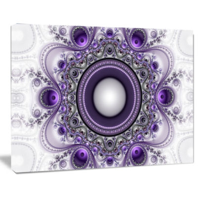 Design Art Purple Fractal Pattern With Circles Abstract Canvas Art Print
