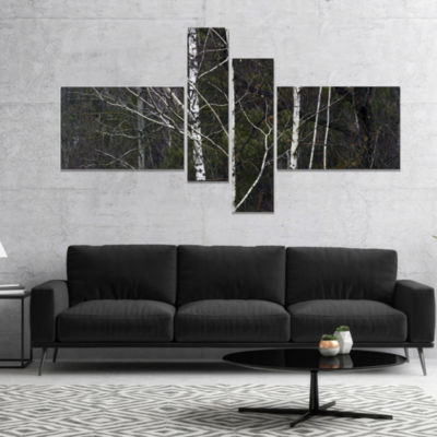 Designart Black And White Birch Forest Abstract Wall Art Canvas - 4 Panels