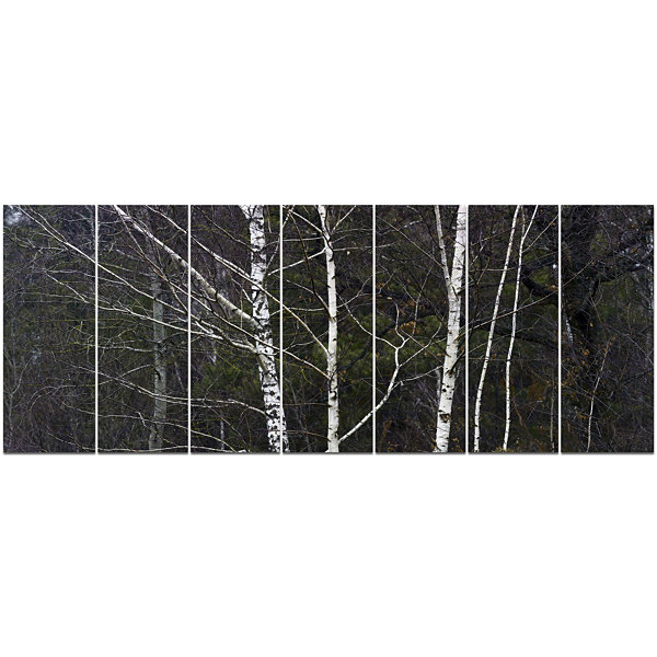 Designart Black And White Birch Forest Abstract Wall Art Canvas - 7 Panels