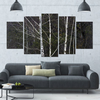 Designart Black And White Birch Forest Contemporary Wall Art Canvas - 5 Panels