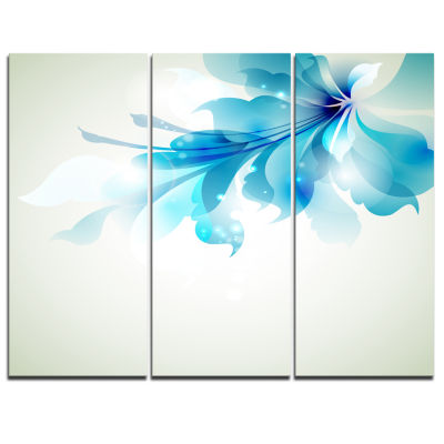 Designart Tender Blue Abstract Flowers Art CanvasPrint - 3 Panels