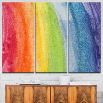 Designart Flowing Rainbow Colors Abstract CanvasArtwork - 3 Panels