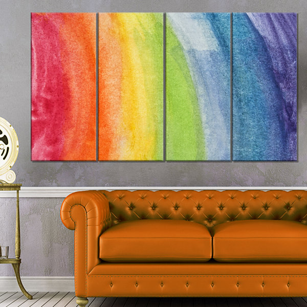 Designart Flowing Rainbow Colors Abstract CanvasArtwork - 4 Panels