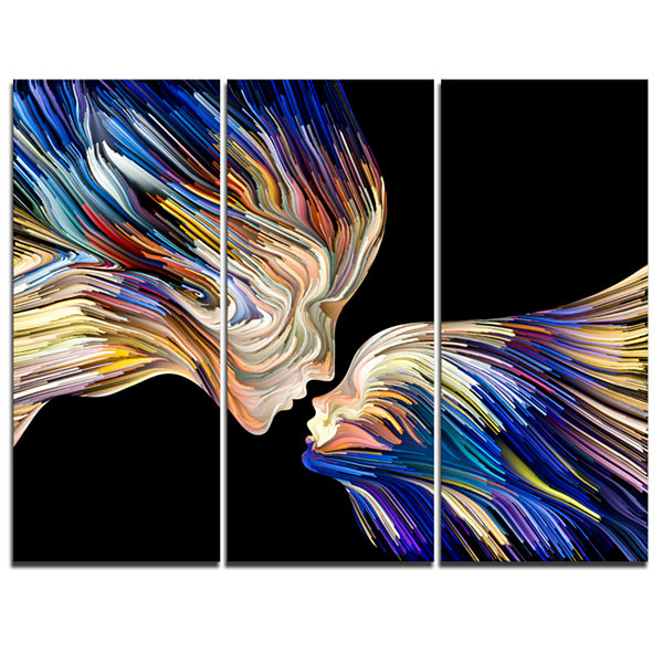 Designart Metaphorical Mind Painting Sensual Canvas Art Print - 3 Panels
