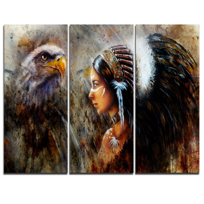 Design Art Indian Woman With Feather Headdress Indian Canvas Artwork - 3 Panels