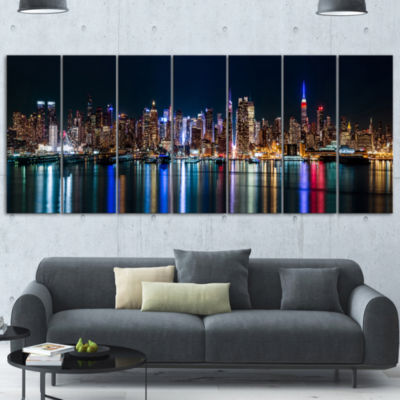 Designart New York Midtown Night Panorama CanvasArt Print - 7 Panels