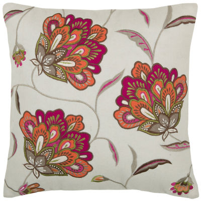 """Rizzy Home Jacobean Floral Square Throw Pillow - 18"""" x 18"""""""