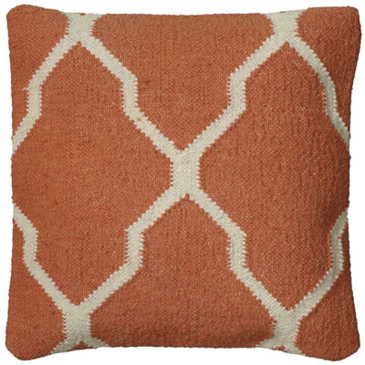 "Rizzy Home Oversized Moroccan Tile Motif Square Throw Pillow - 18"" x 18"""