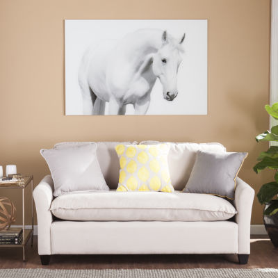 Home Décor Collections White Horse I Glass Wall Art
