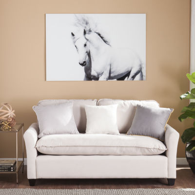 Home Décor Collections White Horse II Glass Wall Art
