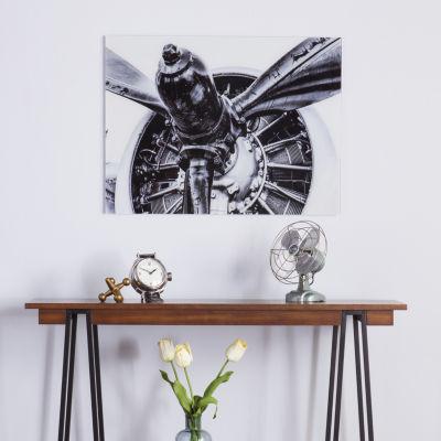 Reflections Decor Propeller Engine Glass Wall Art