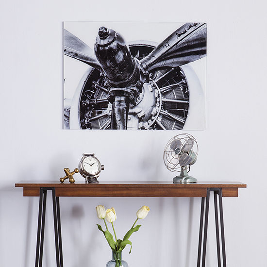 Reflections Decor Propeller Engine Glass Wall Art