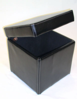 4D Concepts Faux Leather Box Ottoman With Lift Top