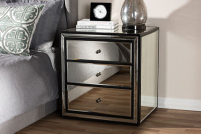 Baxton Studio Avatar Art Deco Style 3-Drawer Mirrored Nightstand
